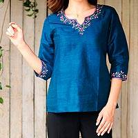Silk tunic, 'Blue Silk Allure' - Hand Embroidered Handwoven Blue Silk Tunic from India