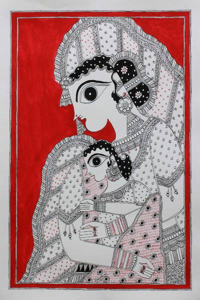 Madhubani painting, 'Mother and Child' - Mother and Child Madhubani Painting from India Artisan