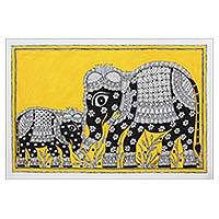 Madhubani painting, 'Absolute Bonding' - India Madhubani Folk Art Painting of Elephants in Yellow