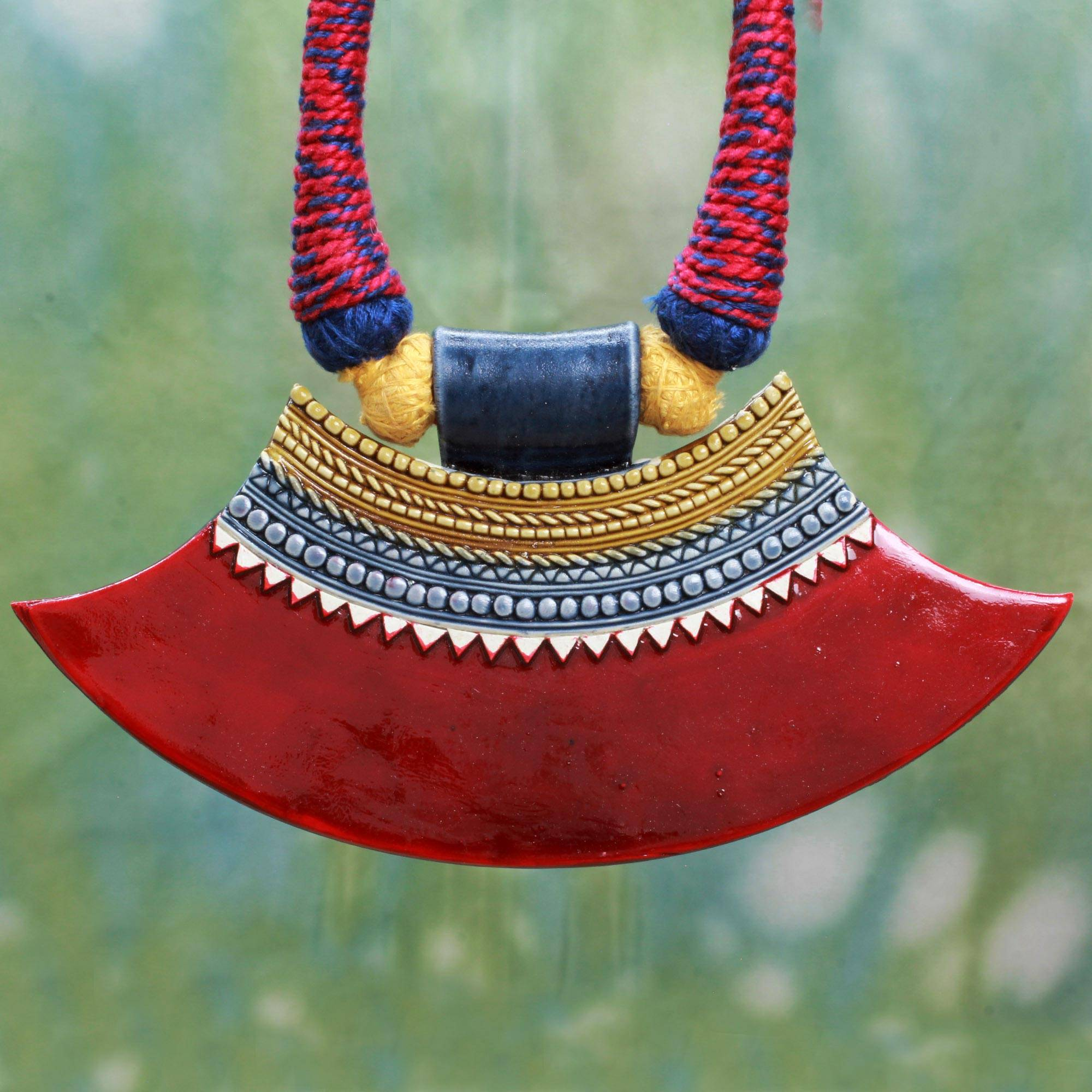 Naga Muse Naga Style Necklace Hand Crafted with Ceramic and Cotton The Perfect Necklace