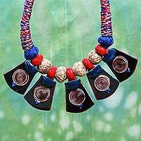 Cotton and ceramic pendant necklace, 'Elements of Nature' - Cotton and Ceramic Artisan Crafted Necklace from India