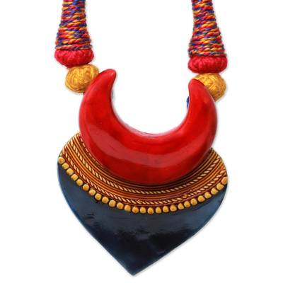Artisan Crafted Ceramic and Cotton Necklace Fair Trade