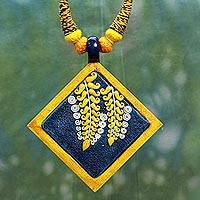 Cotton and ceramic pendant necklace, 'Succulent Mangoes' - Mangoes on Statement Necklace Fair Trade Jewelry from India