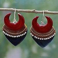 Ceramic dangle earrings, 'Bengali Belle' - Artisan Crafted Ceramic Earrings on 925 Hooks Indian Jewelry