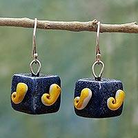 Ceramic dangle earrings, 'Mango Cubes' - Hand Made Ceramic Dangle Earrings Blue Cubes from India