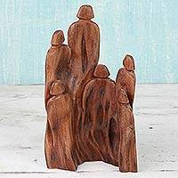 Wood sculpture, 'Sunny Family'
