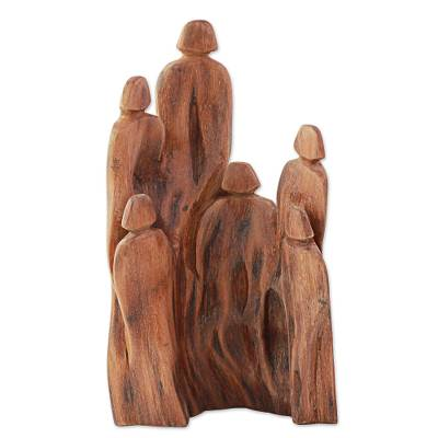 Wood sculpture, 'Sunny Family' - Hand Made Cedar Wood Sculpture of a Family from India