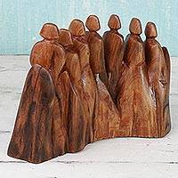 Wood sculpture, 'Journey to the Woods' - Hand Made Red Cedar Abstract Sculpture Family from India