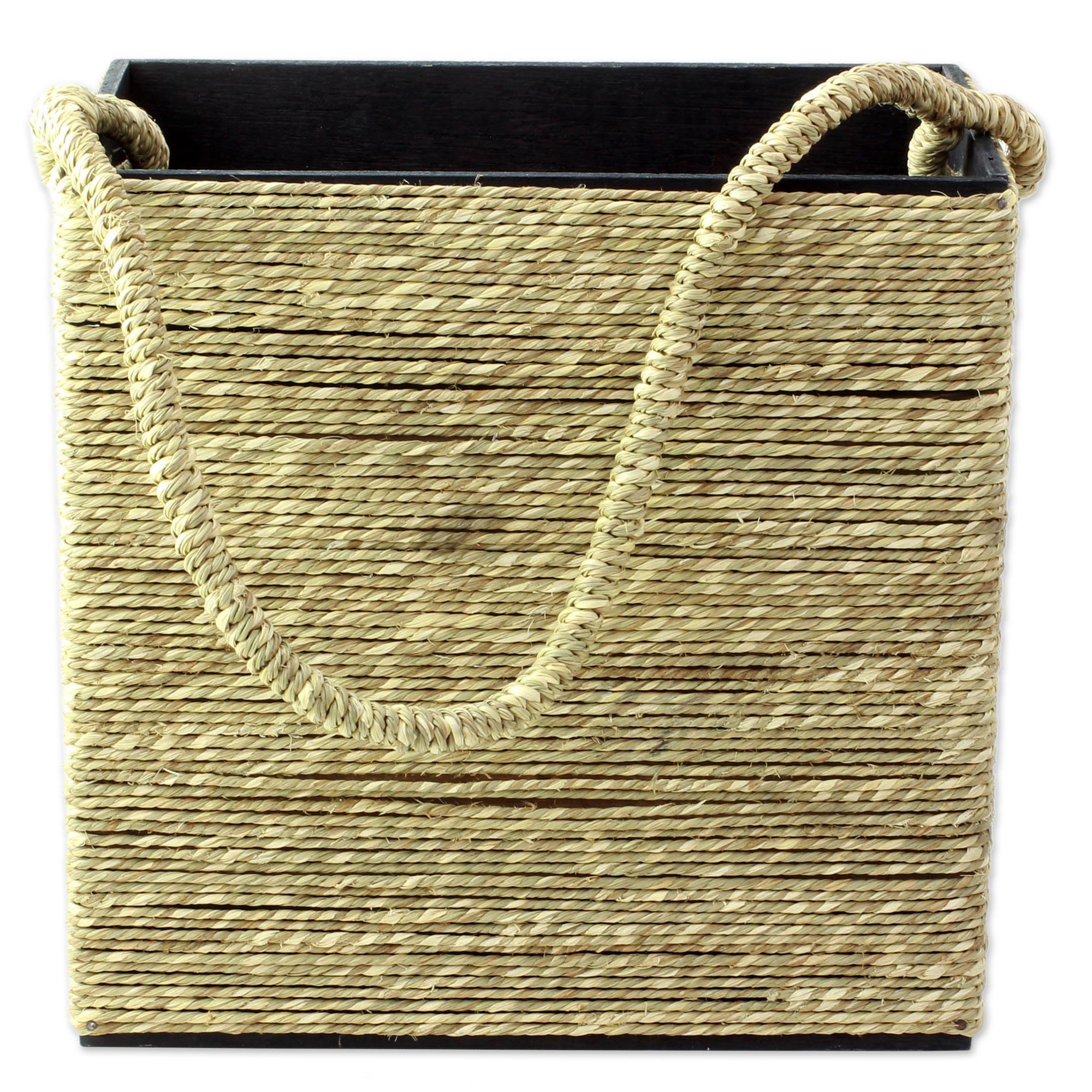 Novica Natural fibers tote bag and bottle holder set, Lifes a Picnic