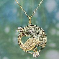 Gold plated garnet pendant necklace, 'Peacock Glamour' - Peacock Pendant Necklace Gold Plated Sterling Silver
