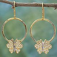 Gold plated dangle earrings, 'Butterfly Grandeur' - Gold Plated 925 Silver & Cubic Zirconia Butterfly Earrings