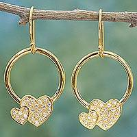 Gold plated dangle earrings, 'Adorable Hearts' - Gold Plated 925 Silver & Cubic Zirconia Butterfly Earrings
