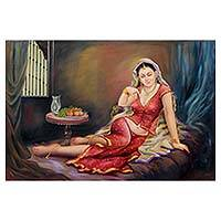 'Awaiting the King's Arrival' - Beautiful Jaipuri Queen in Red Signed Painting from India