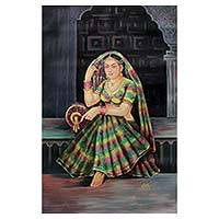 'Evening Hours' - Painting of Rajasthani Queen at Royal Palace Signed Art