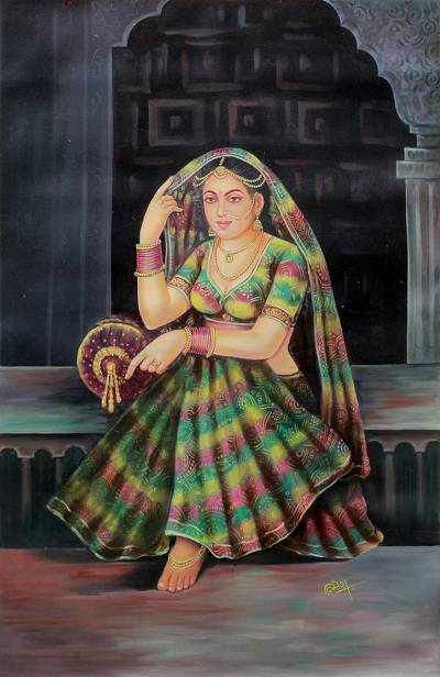 Painting of rajasthani queen at royal palace signed art for Indian jewelry queens ny
