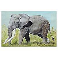 'Indian Jungle' - Elephant in Indian Jungle Signed Animal Themed Painting