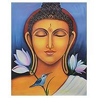'Peaceful Buddha I' - Painting of Buddha at Peace with Bird and Lotus Signed Art