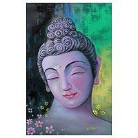 'Peaceful Buddha II' - Buddha with Flowers Signed Painting Buddhism Art from India