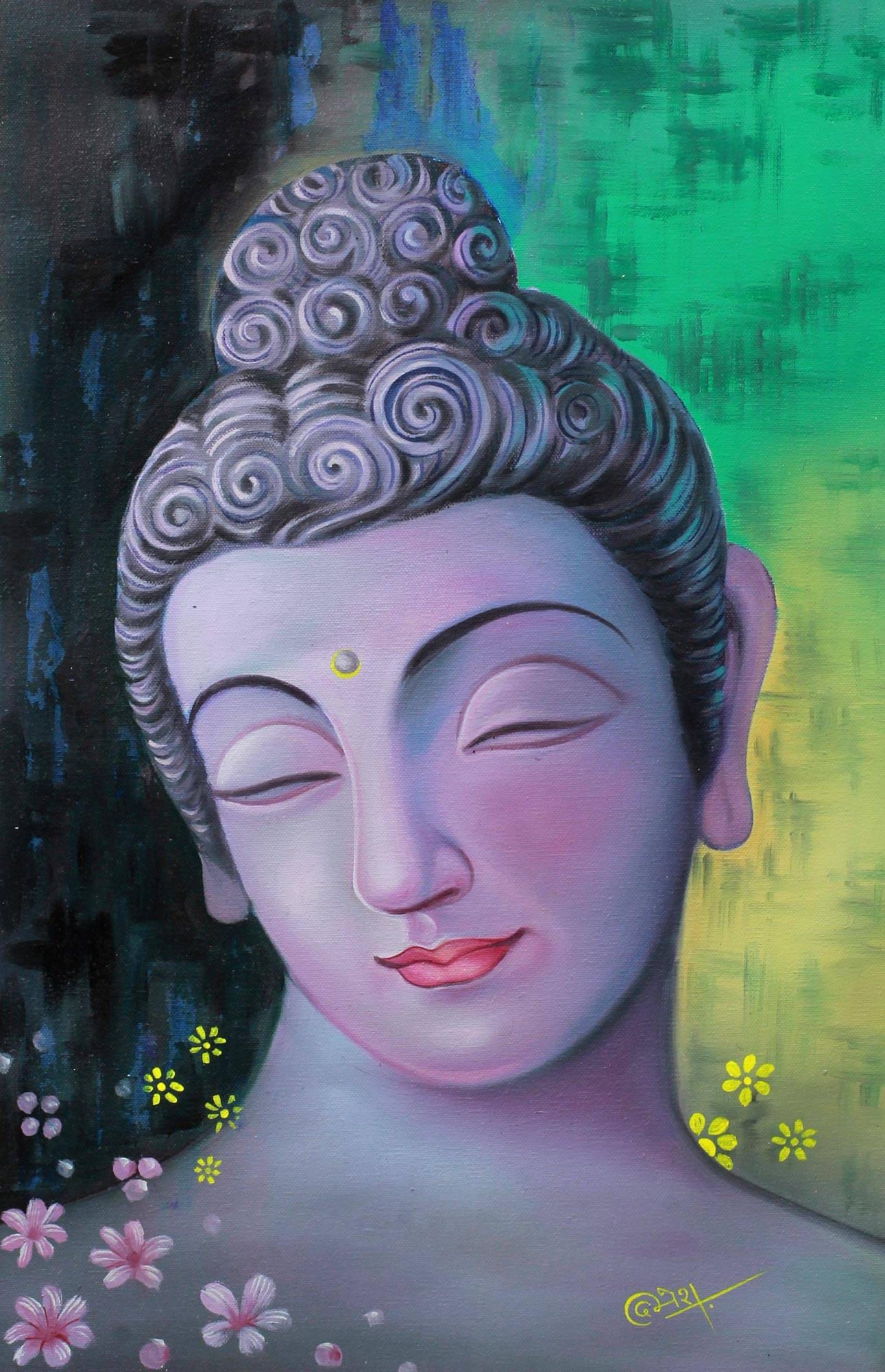 Buddha with flowers signed painting buddhism art from india buddha with flowers signed painting buddhism art from india peaceful buddha ii novica sciox Image collections