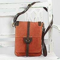 Suede messenger bag, 'Orange Delight' - Indian Orange Suede Messenger Bag with Brown Leather Strap