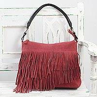 Suede shoulder bag, 'Aurora Magic' - Hand Crafted Fringed Crimson Suede Shoulder Bag from India