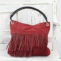 Suede shoulder bag, 'Crimson Magic' - Hand Crafted Fringed Crimson Suede Shoulder Bag from India