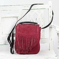 Suede shoulder bag, 'Fringed Magic' - Adjustable Fringed Crimson Suede Shoulder Bag from India