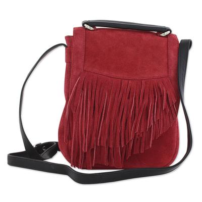 Adjustable Fringed Crimson Suede Shoulder Bag from India