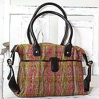 Cotton shoulder bag, 'Multicolored Bengal' - Hand Woven Multicolor Shoulder Bag with Leather from India