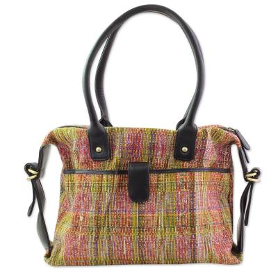 Hand Woven Multicolor Shoulder Bag with Leather from India