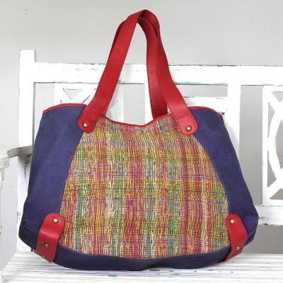 Cotton tote handbag, 'Sunset Cruise' - Leather Accent Multicolored Cotton Tote Handbag