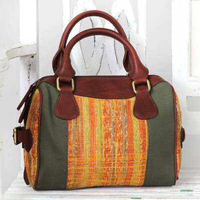 Cotton handle handbag, 'Bengal Spice' - Leather Accent Cotton Handle Handbag from India