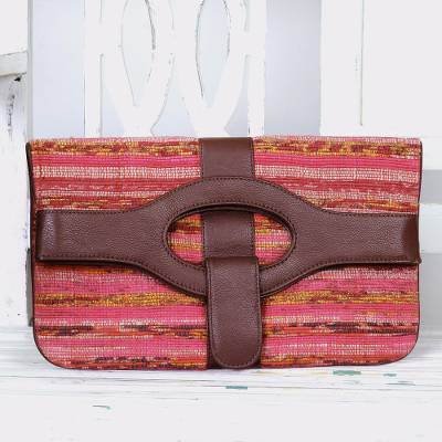 Cotton convertible handbag clutch, 'Bengali Bohemian' - Leather Accent Cotton Convertible Clutch Handbag from India