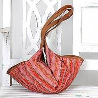Recycled cotton hobo handbag, 'Sunset Aura' - Cotton and Leather Accent Hobo Handbag from India