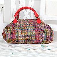 Cotton handbag with leather accent, 'Mosaic Revival' - Artisan Crafted Cotton Handbag with Leather Accent