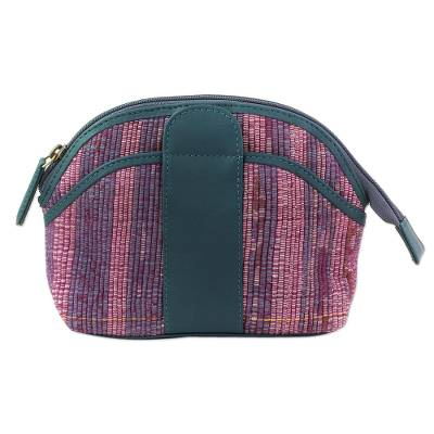 Hand Woven Cotton Cosmetic Bag with Leather Accent
