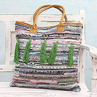 Leather accent recycled cotton tote handbag, 'Tassel Beauty' - Leather Accent Recycled Cotton Tote Handbag from India