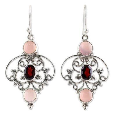 Sterling Silver Garnet Chalcedony Dangle Earrings from India