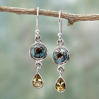 Citrine dangle earrings, 'Sunny Droplets' - Two Carat Citrine Dangle Earrings from India