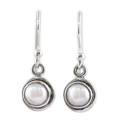 Sterling Silver and Pearl Dangle Earrings from India