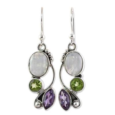 Handcrafted India Peridot and Amethyst Dangle Earrings