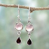 Garnet and chalcedony dangle earrings, 'Crimson Droplets' - Garnet and Chalcedony Dangle Earrings from India