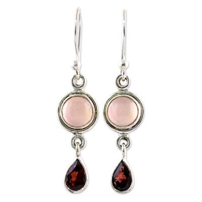 Garnet and Chalcedony Dangle Earrings from India