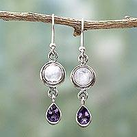 Amethyst and rainbow moonstone dangle earrings, 'Purple Droplets' - Amethyst Rainbow Moonstone Dangle Earrings from India