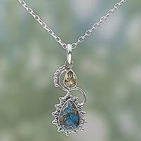 Citrine pendant necklace, 'Sparkling Drop' - Citrine Composite Turquoise Pendant Necklace from India