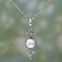 Cultured pearl and blue topaz pendant necklace, 'Blue Rays' - Cultured Pearl Blue Topaz Pendant Necklace from India