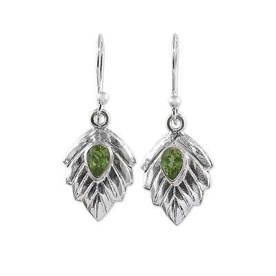 Peridot Sterling Silver Leaf Dangle Earrings from India