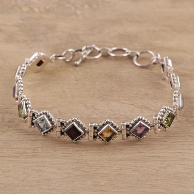 52a9c45811aa45 Multi-gemstone tennis bracelet, 'Rainbow Dream' - Sterling Silver Citrine  Amethyst Blue