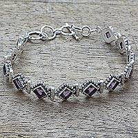 Amethyst tennis style bracelet, 'Purple Voyage' - Amethyst Sterling Silver Tennis Style Bracelet from India