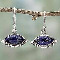 Lapis lazuli dangle earrings, 'Protective Eyes in Blue' - Sterling Silver Lapis Lazuli Dangle Earrings from India